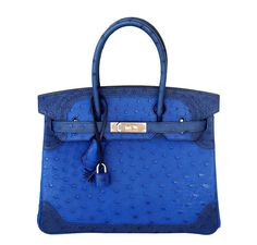 Hermes Birkin Bag Ostrich Ghillies 30 in Tricolors Blue Sapphire, Blue Iris and Blue with Permabrass Hardware. Limited Edition, very rare. Browse Our Collection Now!