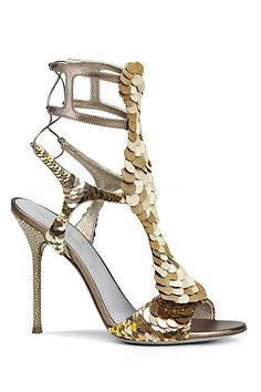 Sergio Rossi Gold Sequined Sandals 2013