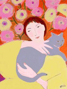 'Woman with Gray Cat' by Barbara Perrine Chu