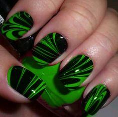 Green Nail Designs, Marble Nail Designs, Different Nail Designs, Nail Art Designs, Lime Green Nails, Green Nail Art, Black Toe Nails, Cute Toe Nails, Camo Nails