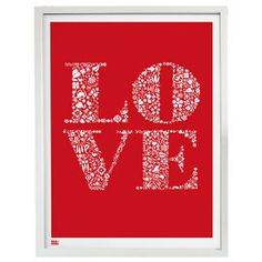 Heal's | Bold and Noble Love Poppy Red Print In White Frame - Graphic Art - Gift Art - Gifts