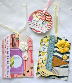 Embellished Tags Journaling Spots Decorated by ArtistsCornerShop, $8.50