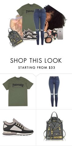 """""""i need a thrasher tee"""" by xmiajohnn on Polyvore featuring Topshop, Moschino, BeautyTrend, rockerstyle, imthankfulfor, diybookcover and boldeyebrows"""