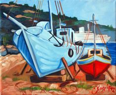shipyard Chios acrylic on canvas