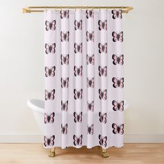 Pink Butterfly, Butterfly Design, Butterfly Shower Curtain, Cute Pink, Chiffon Tops, Curtains, Art Prints, Printed, Interior Design