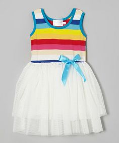 Take a look at this Rainbow Stripe Bow Dress - Toddler & Girls by Blossom Couture on #zulily today!