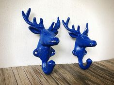 c85f96194e7 Wilderness Nursery Decor   Deer Head Wall Hooks   Coat Hooks For Kids    Royal Blue Playroom Storage   Rustic Woodland Animal Wall Hooks
