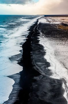 black sand beach in iceland after a massive snowfall - nature Aerial Photography, Landscape Photography, Nature Photography, Travel Photography, Nature Beach, Art Nature, Beach Landscape, Iceland Travel, Beach Pictures