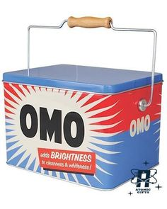 Vintage retro style omo washing laundry powder storage container tin & handle
