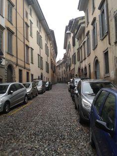 Stone Buildings in Bergamo narrow street