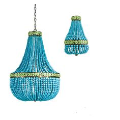 Turquoise and Jade Chandelier and Wall Sconces