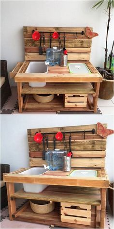 Here comes the ideal suggestion of wood pallet recycling that is finished in the design of wood pallet kitchen sink work into it. The whole table designing has been ended up with the arrangement of the planks over it. Check it out!
