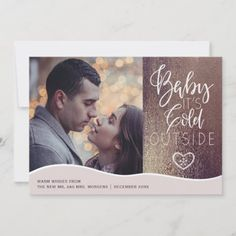 Mr and Mrs rustic winter holiday greetings photo