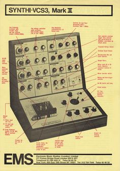 "moredarkthanshark: "" Presenting the EMS Mark II "" Vintage Synth, Vintage Drums, Vintage Keys, Foley Sound, Recording Equipment, Drum Machine, Music Images, Music Stuff, Music Things"