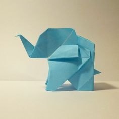 February 5th 2015 Origami elephant I made today. #origami #paper #folding #elephant #cute #animal #blue #diy #craft #36