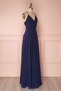 Lovina Navy Blue Chiffon Gown with Tied Open Back | Boudoir 1861