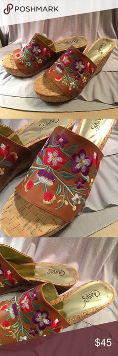 Carlos Santana Floral Embroidered Cork Wedges Gently used. Size 8.5. Embroidery looks great. Some wear throughout. Carlos Santana Shoes Wedges