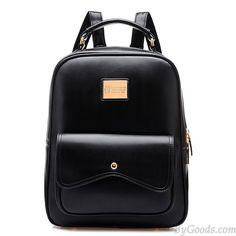 Fashion Leather Zipper Student Bag Schoolbag Backpack