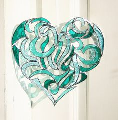 Stained Glass Heart Intricate Tribal Motif - Tropical Colors Emerald Green Teal Sky Blue Wedding Gift Anniversary Gift Bride and Groom