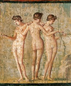 *POMPEII, ITALY ~ Roman civilization, century A. Fresco depicting 'The Three Graces'. From Pompeii Naples, Museo Archeologico Nazionale (Archaeological Museum) Ancient Rome, Ancient Art, Ancient History, Art History, Pierre Auguste Cot, Art Romain, Rome Antique, Pompeii And Herculaneum, Pompeii Italy