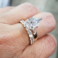2pc 14k Yellow Gold Engagement Ring Wedding Band