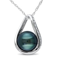 Amour Ct Diamond Tw - 9 Mm Black Tahitian Pearl Fashion Pendant With Chain White Gold Gh Tahitian Pearl Necklace, Tahitian Black Pearls, Cultured Pearl Necklace, Pearl Pendant Necklace, Pearl Jewelry, Gold Pendant, White Necklace, Teardrop Necklace, Jewelry Necklaces