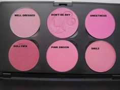MAC blush - Top Row: Well Dressed, Don't be Shy, Sweetness - Bottom Row: Dollymix, Pink Swoon, Smile