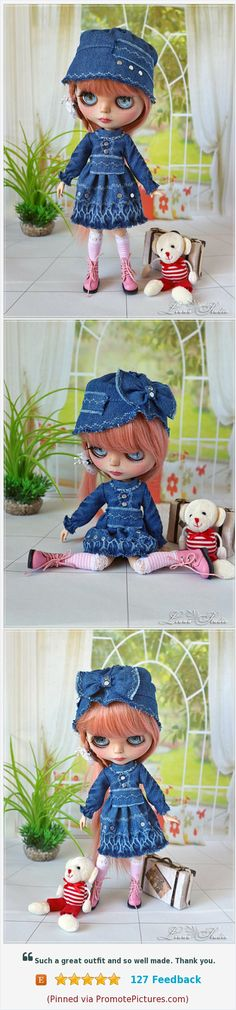 Blythe Denim Dress Сap, Clothes Blythe, Outfit for Blythe, #blythe #blythedoll #blythedress #blythedenim