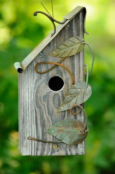 Wire leaves added to bird house