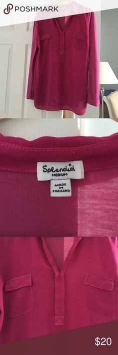 Splendid cotton/rayon modal shirt Pink long sleeve two pocket shirts. Modal/ cotton in back and arms, Rayon in front. Sleeve rolls to 3/4 with button option Splendid Tops Tees - Long Sleeve
