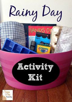 Make a rainy day activity kit filled with creative and inexpensive play prompts for kids.