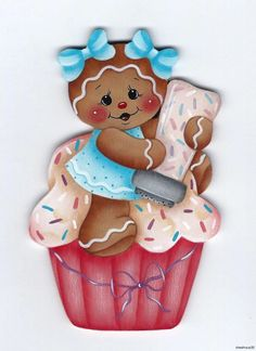 HP GINGERBREAD Cupcake & Sprinkles FRIDGE MAGNET