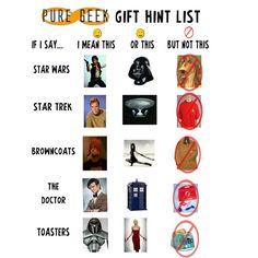 Pure Geek Gift Hint List