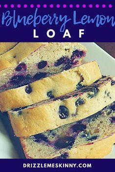 Blueberry lemon loaf - Drizzle Me Skinny! Lemon Blueberry Loaf, Blueberry Cupcakes, Lemon Loaf, Skinny Recipes, Ww Recipes, Skinnytaste Recipes, Cake Recipes, Calories In Blueberries, Drizzle Me Skinny