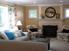 Living room ideas -- paint color & toile prints   http://hookedonhouses.net/wp-content/uploads/2009/06/fam-rm-summer-08.jpg