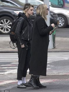 Close:Meanwhile, Kristen cut an edgy figure in her leather jacket over a hoodie