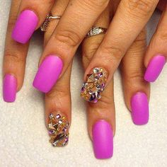 Violet Matte + Crystal Ring Fingers <3`•.¸¸.•´´¯`•• .¸¸.•<3