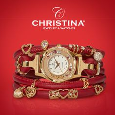 CHRISTINA Collect watch with genuine leather and charms and gemstones. Be your own watch and jewelery designer with this Collect concept.