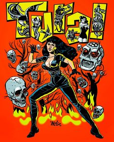 Tura Satana by Mitch O'Connell Pop Art Design, Graphic Design, Chicago Artists, Pop Surrealism, Horror Art, Cartoon Styles, Dark Art, Sculpture Art, Comic Art
