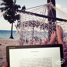 Never stop seeking your paradise. Gotta love reading in the sun! A tablet is a great vacation swim suit accessory.  #Lenovo #sponsored