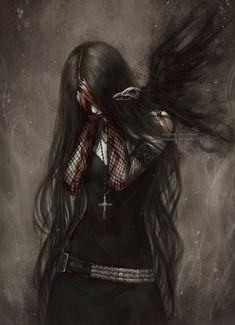 Anime art fantasy, dark fantasy art, fantasy artwork, goth girls, illustrations and Dark Fantasy Art, Anime Art Fantasy, Art Anime, Fantasy Kunst, Fantasy Artwork, Dark Gothic Art, Gothic Anime, Arte Horror, Horror Art