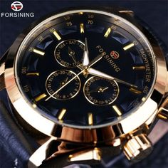 Retro Fashion Designer Three Dial Decoration Genuine Leather Golden