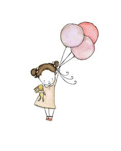 Lacy Flygirl in Strawberry and Cocoa dark haired girl Children's Art Print via etsy. Cute idea for a transfer Art Et Illustration, Illustrations, Art Mignon, Its A Girl Balloons, Baby Art, Nursery Art, Oeuvre D'art, Cute Drawings, Cute Art