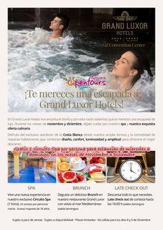 Hotel Grand Luxor 4* sup (Benidorm) Hotel Grand Luxor All Suites 5* (Benidorm) Escapadas Spas - Noviembre y Diciembre 2017 Gratis 1 sesión de Spa por persona, para estancias de miercoles a domingo ----- #grandluxor #benidorm #costablanca #spa #paquetes #escapadas #ofertas #hoteles #agentesdeviajes #agenciasdeviajes #opentours #grupoopentours ------ Más info y condiciones generales de esta oferta en www.opentours.es