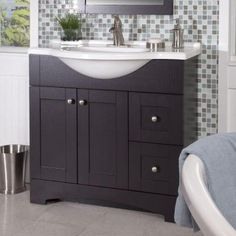 Glacier Bay Del Mar 36 in. W Vanity with AB Engineered Composite Top in Espresso-DMSD36P2COM-E at The Home Depot