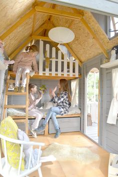 Interior of children& wooden house BADEN. With two bunk cots, stair handrail and guardrail. With large windows on the facade and dormers. Playhouse Decor, Playhouse Interior, Girls Playhouse, Backyard Playhouse, Build A Playhouse, Wooden Playhouse, Kids Playhouse Plans, Kids Outdoor Play, Backyard For Kids