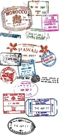How many stamps in your passport? Travel the world: Paris, Mexico, Hawaii, Rome, England, Japan, Canada (just 'cuz it's there!), L.A., New York, Seattle,