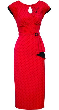 Stop Staring! Timeless Fitted Dress in Red Dot | Blame Betty