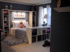 bedroom storage ideas...love the shelf at the end of the bed and on each side (don't even need a headboard!)
