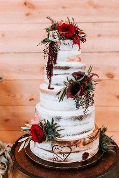 Semi-naked wedding cake idea - rustic, winter wedding cake with fresh flowers {Altar Ego Weddings}